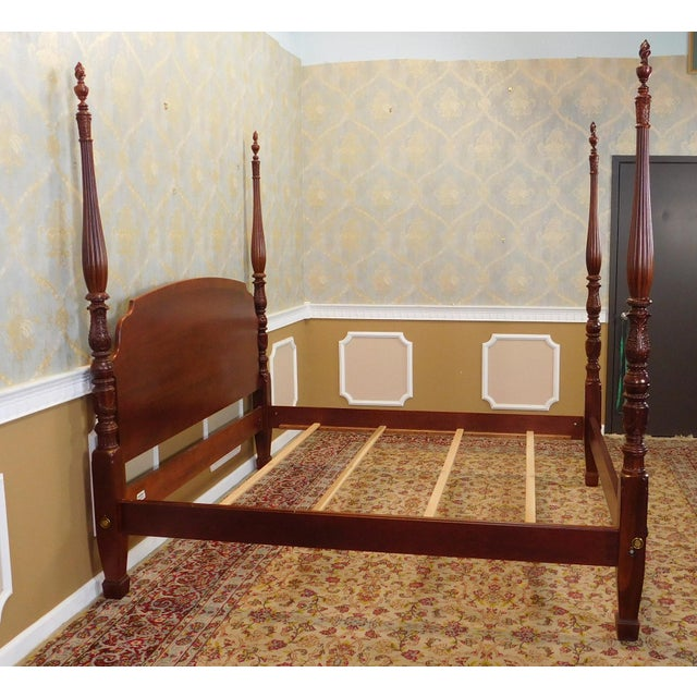 Ethan allen 18th century classics queen mahogany queen four poster bed chairish - Ethan allen queen beds ...
