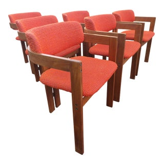 Mid-Century Teak Barrel Back Dining Chairs - Set of 6