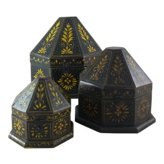 Indian Octagonal Wood Boxes - Set of 3