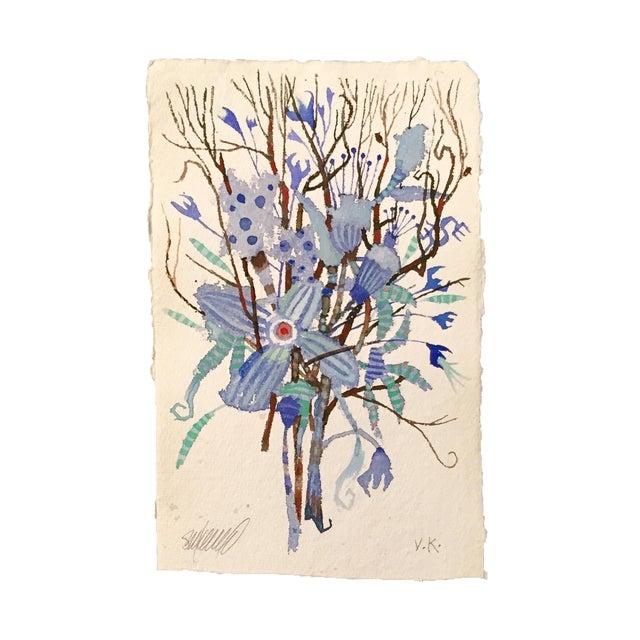"""""""Blue Brush"""" Original Watercolor - Image 1 of 3"""
