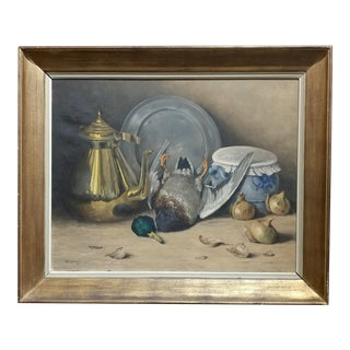 M. Moeng Still Life With Dead Game 19th Century Oil Painting