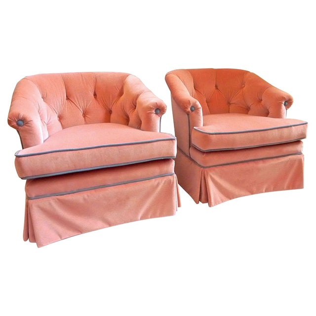1950s Henredon Pink Velvet Club Chairs - A Pair - Image 6 of 7