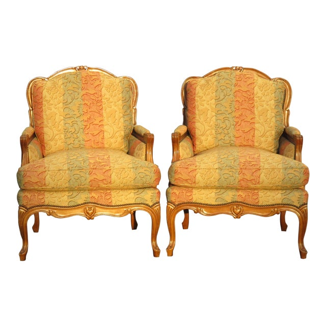 French gold rose accent down chairs a pair by baker for Chair 6 mt baker