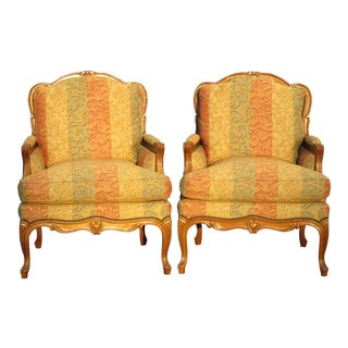 Baker French Gold & Rose Accent Down Chairs - A Pair