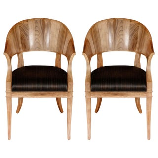 Customizable Bleached Walnut French Art Deco Style Chairs