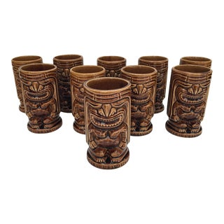 Tiki Leilani Ceramic Glasses- Set of 10