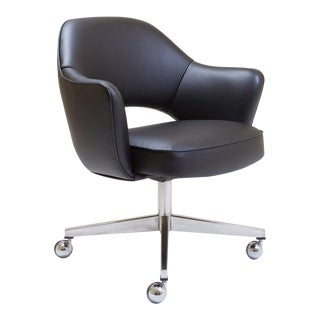 Saarinen for Knoll Executive Arm Chair in Black Leather, Swivel Base