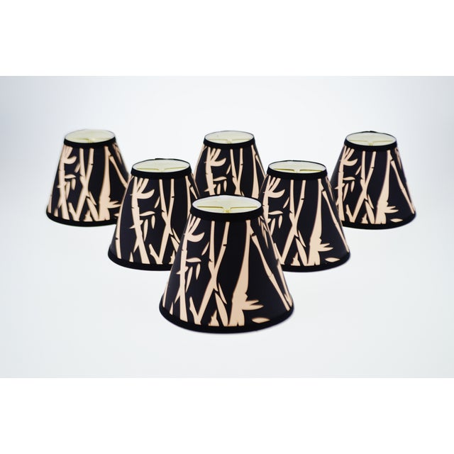 Black & Tan Bamboo Design Chandelier Shades - Set of 6 - Image 3 of 7