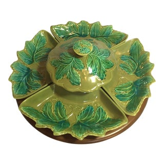 Mid-Century Green Leaf Lazy Susan Set