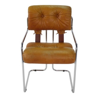 "Guido Faleschini for Pace Mid Century Modern ""Tucroma"" Cantilever Arm Chair"