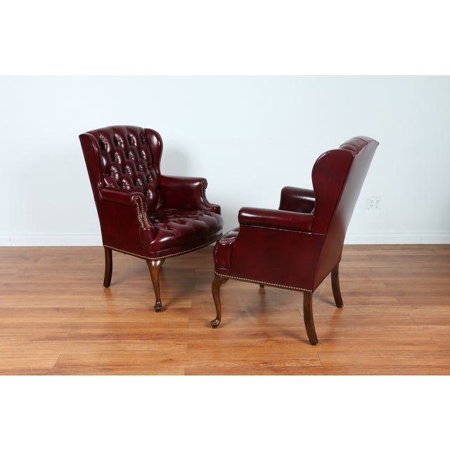 Schaffer Bros Burgundy Leather Chairs - A Pair - Image 4 of 11