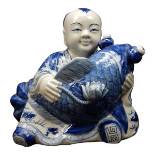 Chinese Blue and White Buddha With Fish and Dragon Statue