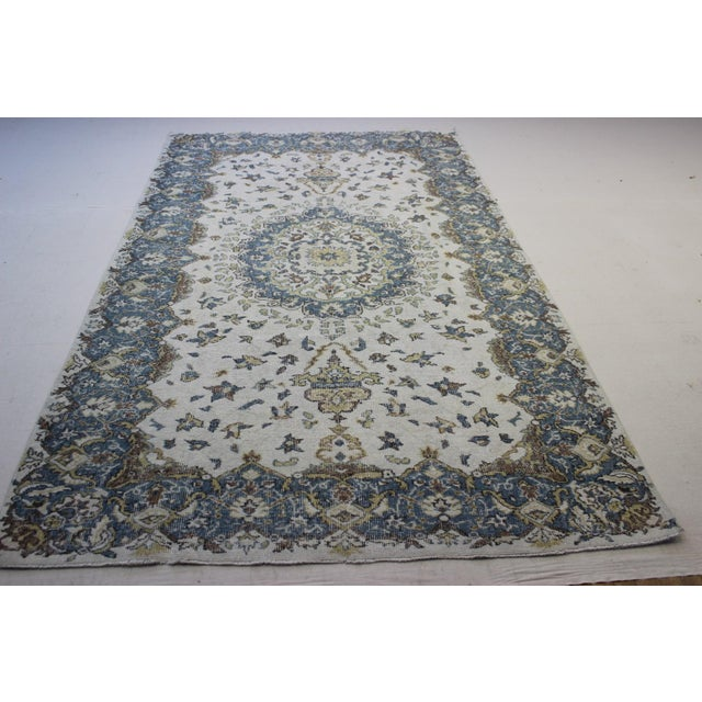 "Blue Cream Turkish Overdyed Rug - 6'1"" X 10' - Image 4 of 9"
