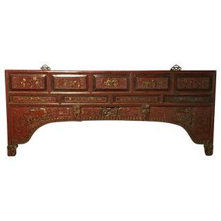 Antique Ornate Hardwood Headboard