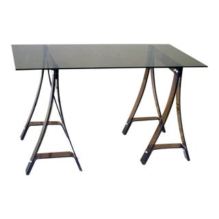 Italian Writing Table or Console in Lucite and Glass Attributed to Fontana Arte