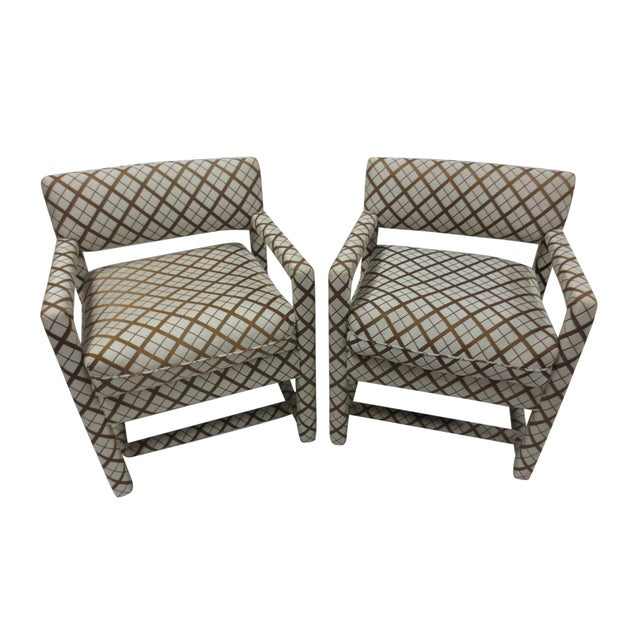 Image of Mid-Century Brown & White Armchairs - A Pair