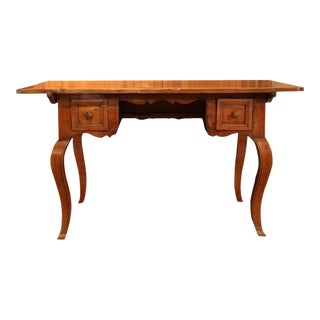 19th Century Country French Shaped Apron Walnut Desk