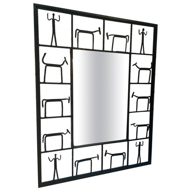 Image of Mirror in Sculptural Wrought Iron Frame