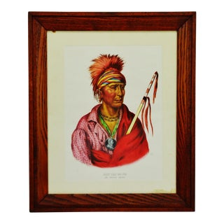 Vintage Native American Indian Ioway Chief Lithograph