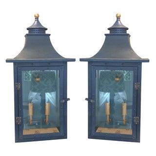 Blue Pagoda Wall Lanterns - A Pair