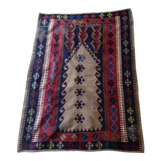 "Vintage Turkish Prayer Kilim - 4'3"" X 6'2"""