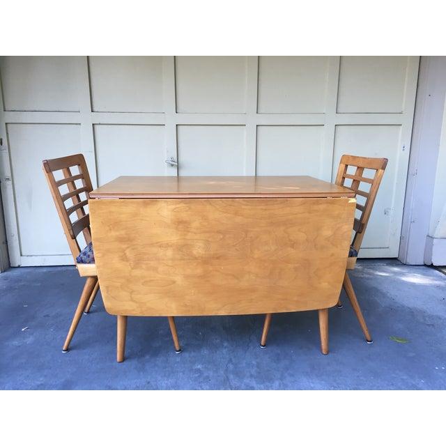 Mid-Century Modern Drop Leaf Wood Table - Image 6 of 8