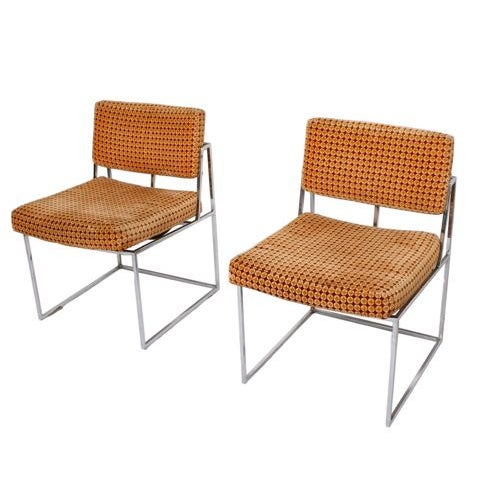 Thayer Coggin Upholstered Chrome Chairs - A Pair - Image 1 of 6