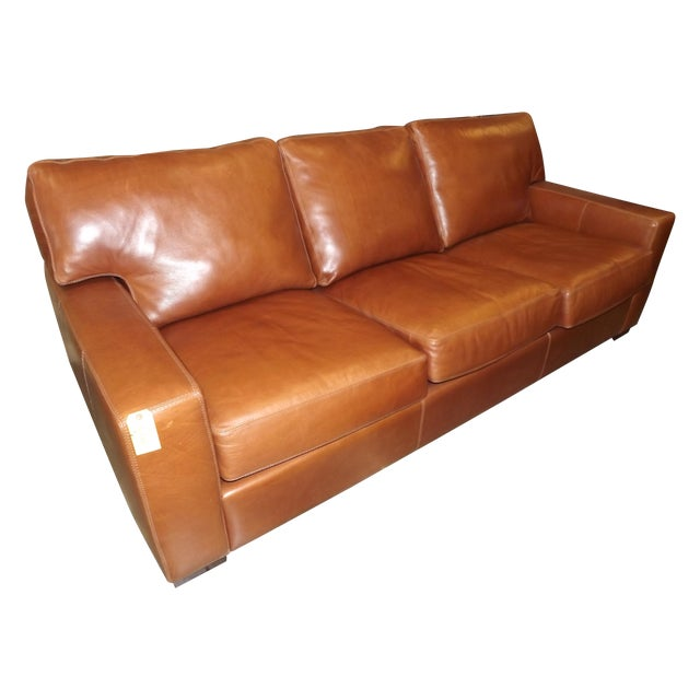 danford cognac leather sofa chairish. Black Bedroom Furniture Sets. Home Design Ideas