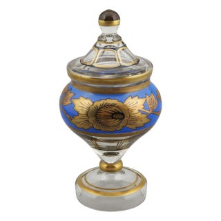 Russian Painted and Gilded Lidded Glass Vase