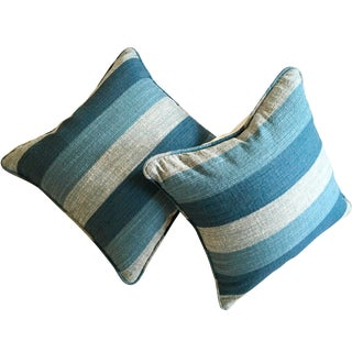 Blue Stripe Woven Pillows - A Pair