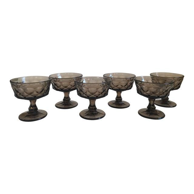 Vintage Smoked Thumbprint Glass Goblets - Set of 6 - Image 1 of 9