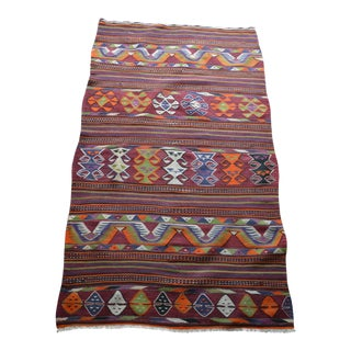 Vintage Turkish Kilim Striped Rug - 3′6″ × 6′6″