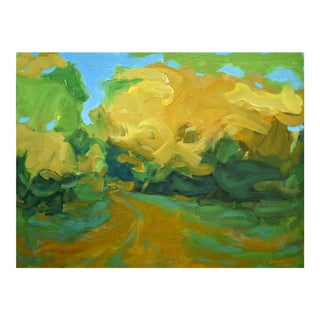 """Walking in a Yellow Wood"" Autumn Landscape Acrylic Painting by Stephen Remick"