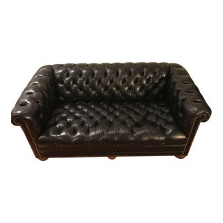 Classic Club-Style Tufted Black Leather Loveseat