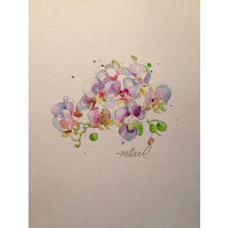 """Contemporary """"Sweet Pea"""" Floral Watercolor Painting"""