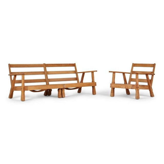 A. Brandt Ranch Textured Oak Seating Set - Image 8 of 9