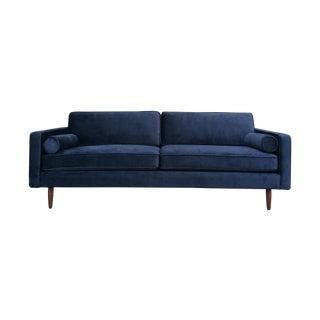 Mid Century Style Sofa in Velvet Blue