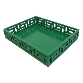 Vintage Fretwork Green Wooden Tray