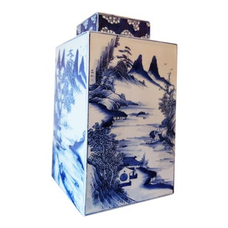 Blue & White Chinese Vase Tea Caddy, Reproduction
