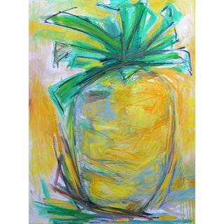 """Trixie Pitts' Fun Large """"Pineapple Power"""" Abstract Painting"""