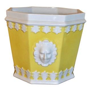 Vintage Lemon & White Mottahedeh Porcelain Cachpot
