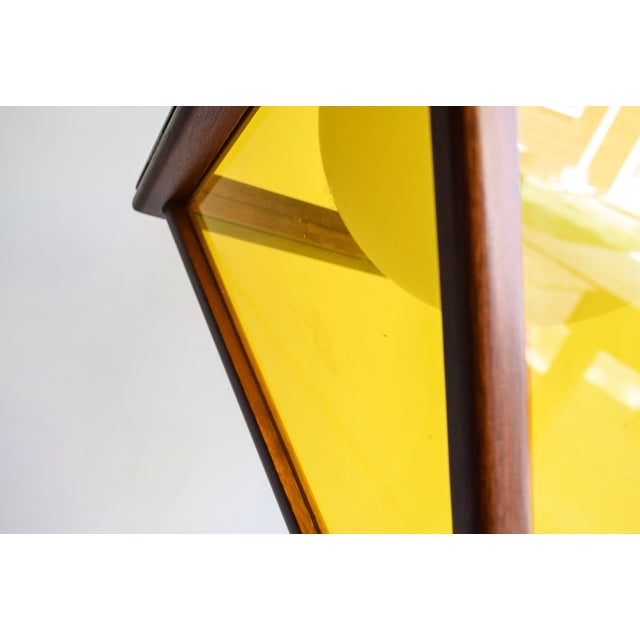 Mid-Century Teak & Yellow Pendant Light - Image 11 of 11