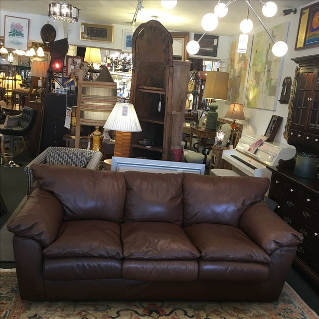 Contemporary Brown Leather Sofa - Image 2 of 9