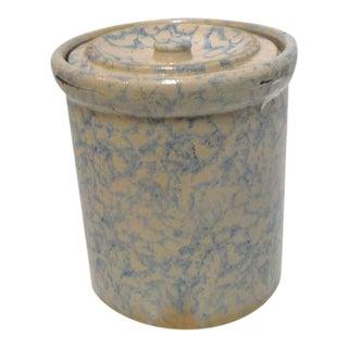 Rare 19thc Spongeware Pottery Cookie Jar