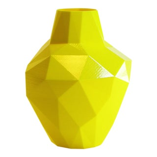 Redux Polygon Accent Vase, Electric Yellow