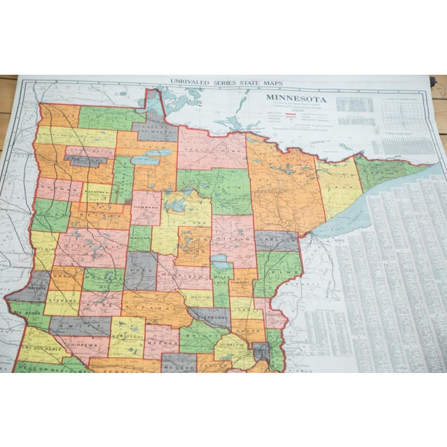 Antique Nystrom Pull Down Map of Minnesota - Image 2 of 9
