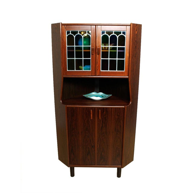 Rosewood Corner Bar W/ Stained Glass Doors - Image 1 of 6