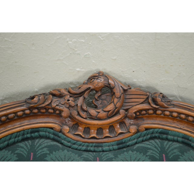 Antique Carved Rococo Style Wing Chair - Image 5 of 10