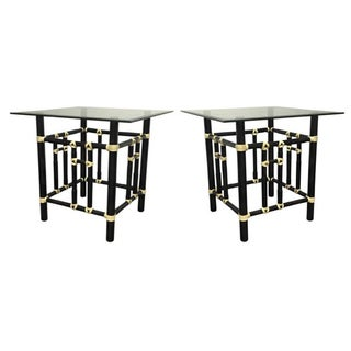 Contemporary Qube Side Tables - Pair