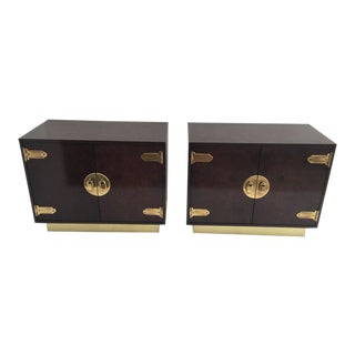 Pair of Mastercraft Burl Wood and Brass Bedside Tables